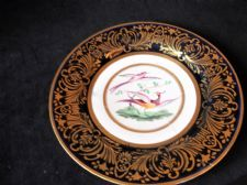 ANTIQUE GILDED COBALT PLATE HANDPAINTED EXOTIC BIRDS BARR FLIGHT & BARR RESTORED